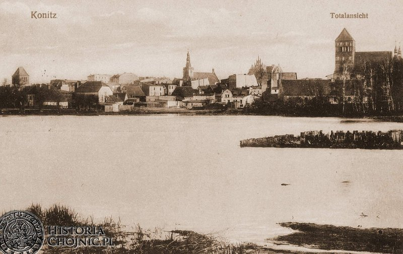 Jezioro Zakonne i widok na miasto.