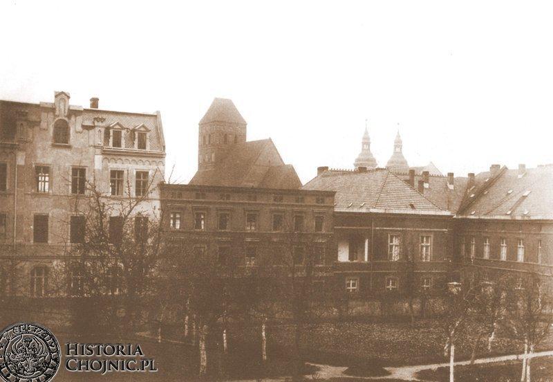 Zabudowania zakładu św. Boromeusza i ogród klasztorny.