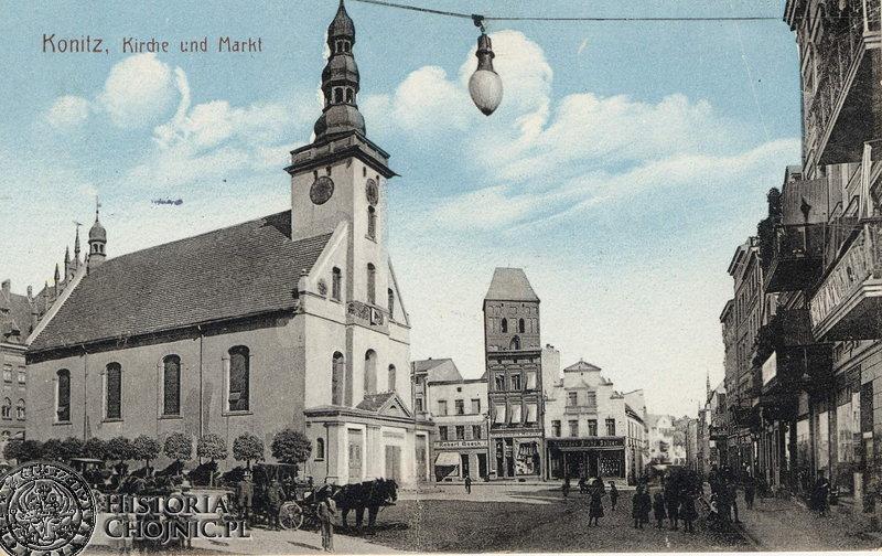 Widok na kościół ewangelicki. Ok. 1915 r.