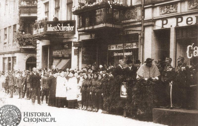 Uroczystość nadania sztandaru dla I BS ufundowanego przez społeczeństwo Chojnic. 1938 r.