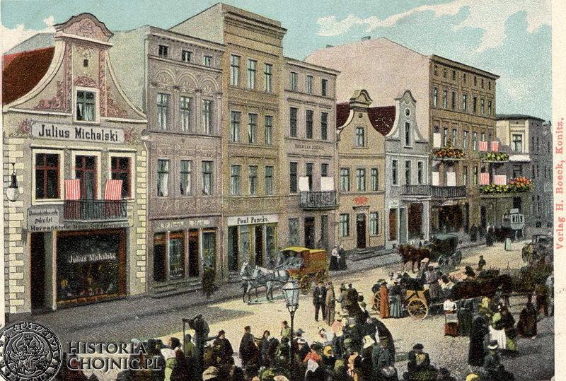Widok na kamienice przy rynku. Ok. 1915 r.