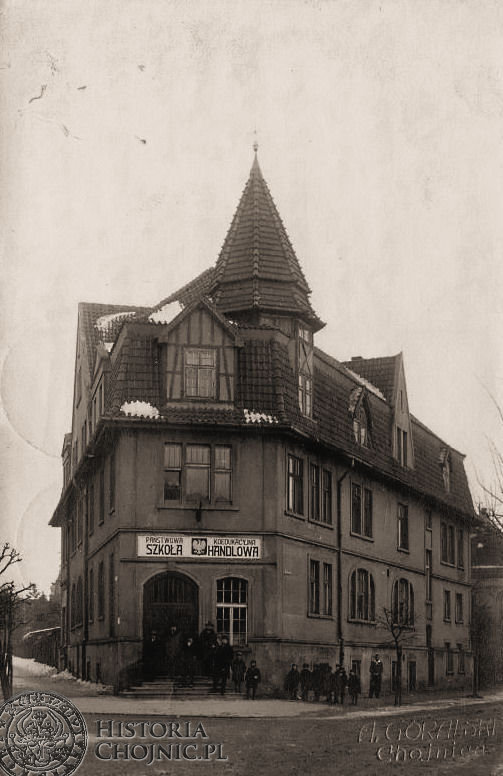 Szkoła Handlowa w dawnym hotelu Reichshof. Ok. 1929 r.