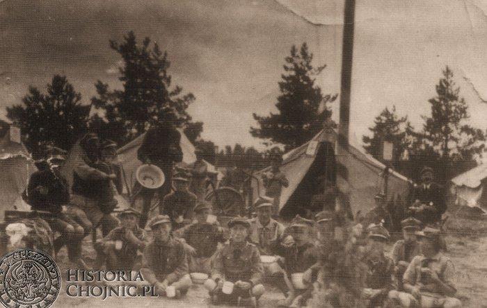 Drużyna harcerska przy SP nr 1 na obozie w Dużych Swornegaciach. 1938 r.