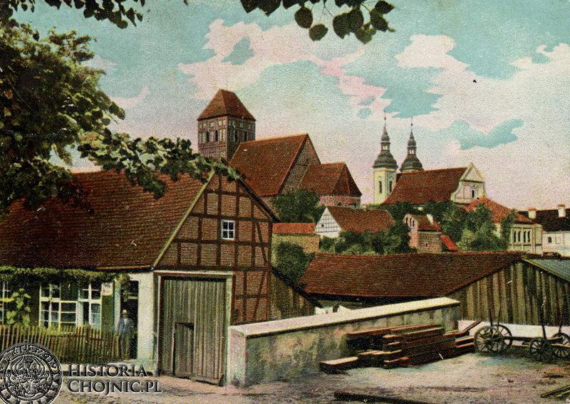 Zaułek Chojnic. Obecnie znajduje się w tym miejscu parking samochodowy. Widok z pocz. XX w.