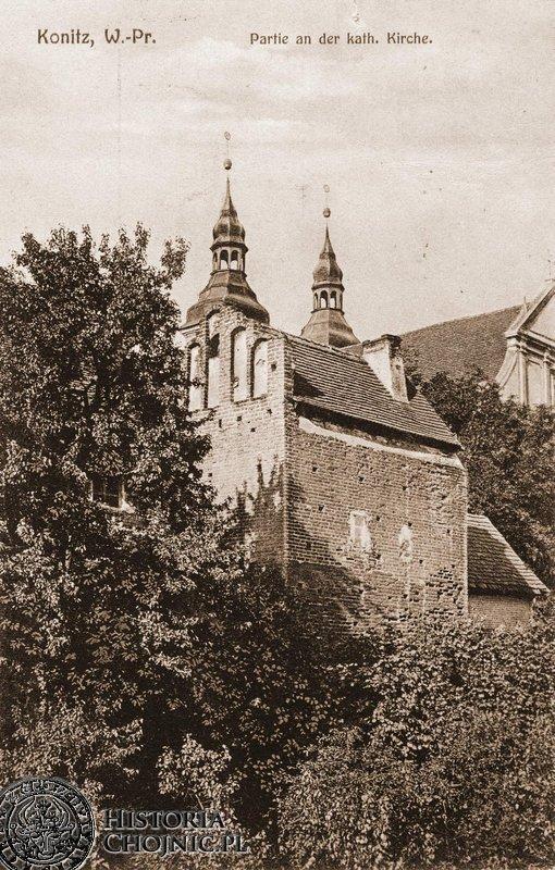 Baszta koscielna zwana gotycką. Ok. 1915 r.