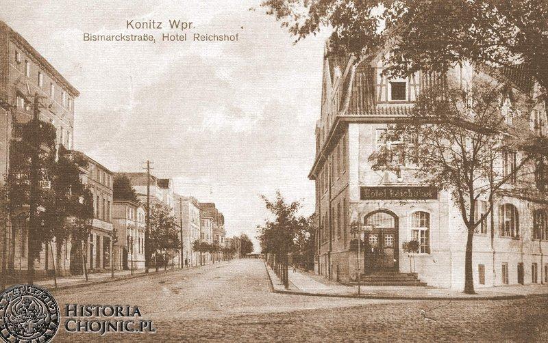 Dawna Bismarckstrase (obecnie ul. Warszawska. Po prawej budynek hotelu Reischof.