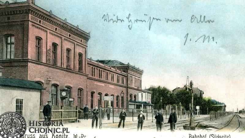 Budynek dworca z widokiem na peron. Ok. 1911 r.