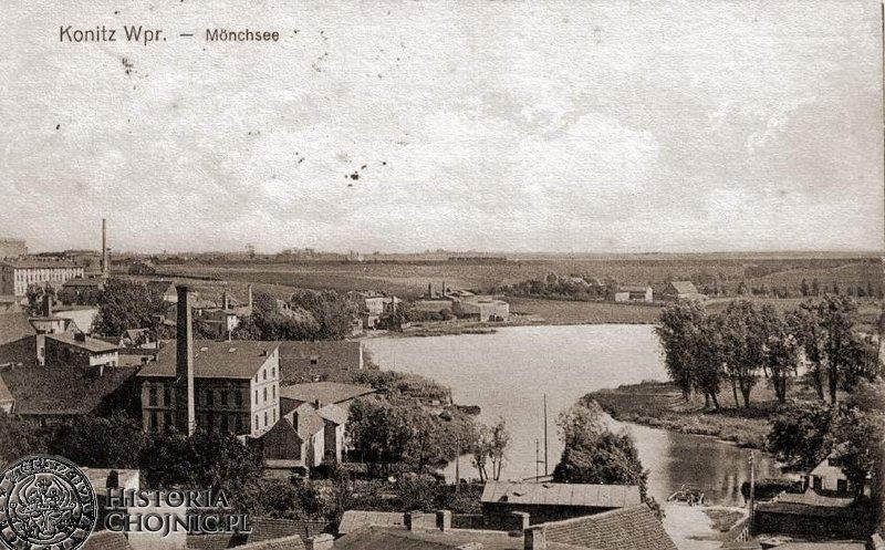 Jezioro Zakonne i zabudowania browarne. Początek XX w.