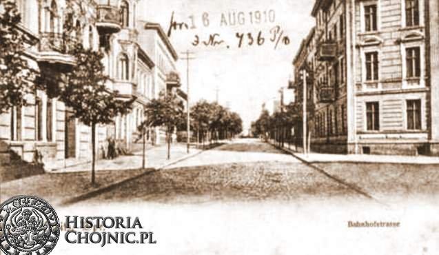 Widok na ulicę dawną ulice Dworcową. oK. 1910 r.