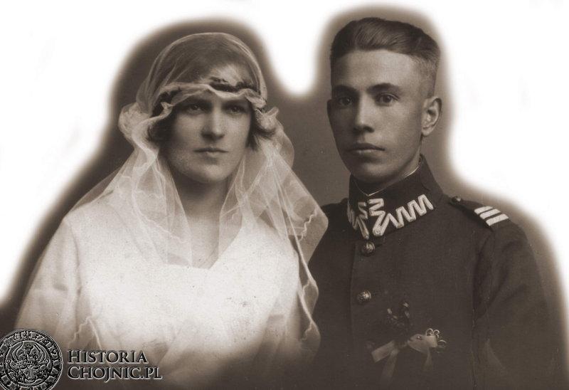 Fotografia ślubna podoficera I Batalionu Strzelców  - Jana Stromskiego z 1926 r.