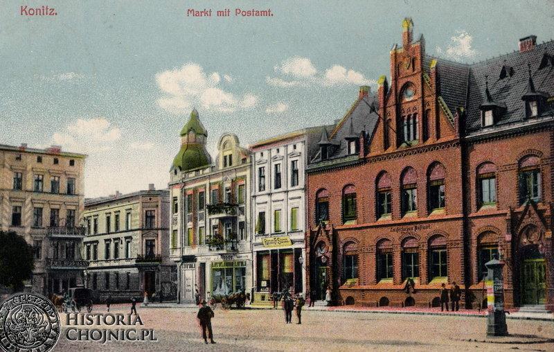 Widok na rynek i budynek poczty. Ok. 1914 r.