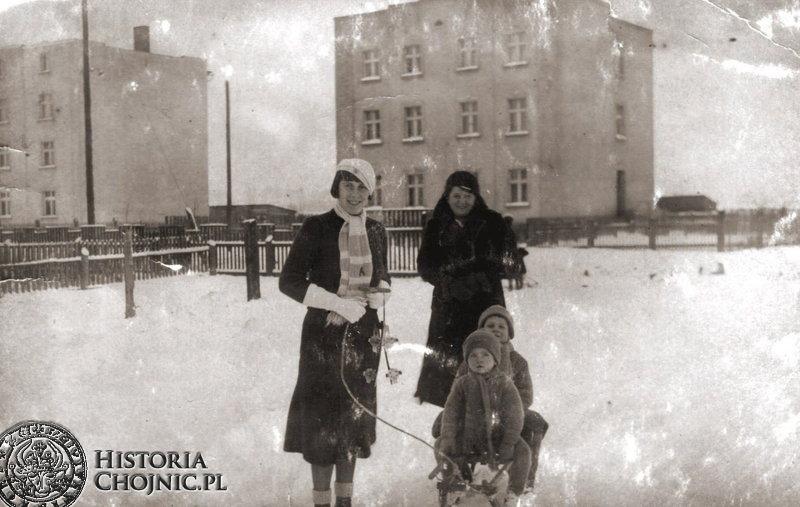 Chojnice. Zima 1931 r. Ulica Drzymały.