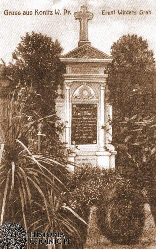 Nagrobek zamordowanego E. Wintera na nieistniejącym cm. ewangelickim.