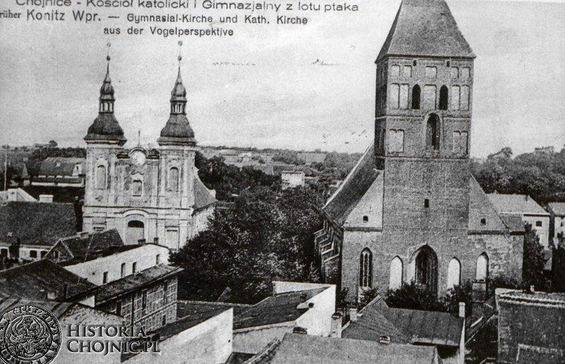 Widok na kościół farny i gimnazjalny. Ok. 1918 r.