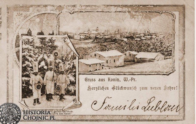 Świąteczna kartka pocztowa z pozdrowieniami z Chojnic.