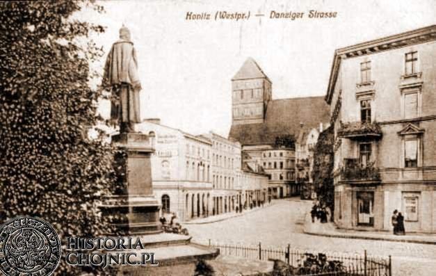 Pomnik Wilhelma i widok na kościół farny. Ok. 1908 r.