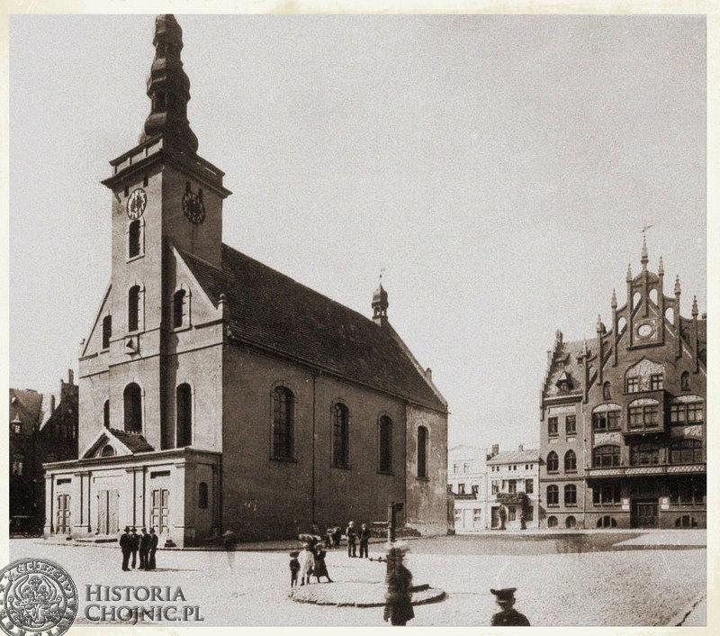 Ewangelicki kościół na rynku. Został rozebrany przez hitlerowców.