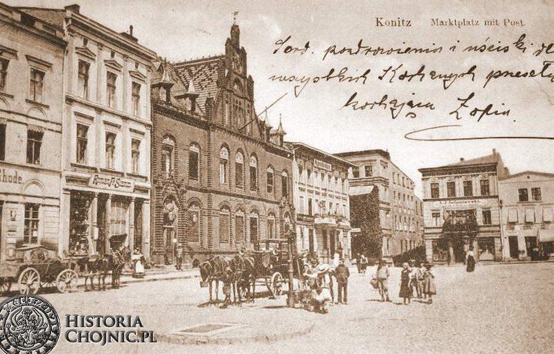 Kamienice i budynek poczty. Ok. 1910 r.