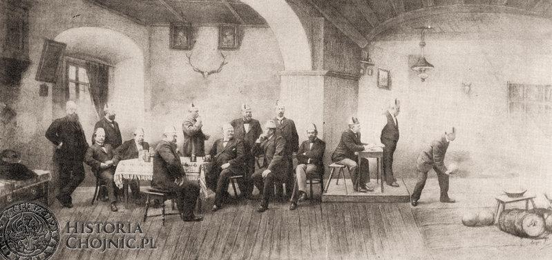 """Klub Kręglarski """"Blauen"""" przypuszczalnie w strzelnicy Bractwa Kurkowego przy ul Strzeleckiej Ok. 1900 r. Na zdjęciu m.in. dr Jan i Kazimierz Łukowicz."""