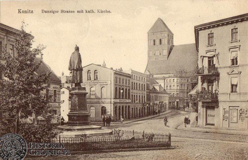 Widok na dawną ulicę Gdanską i kościół farny.