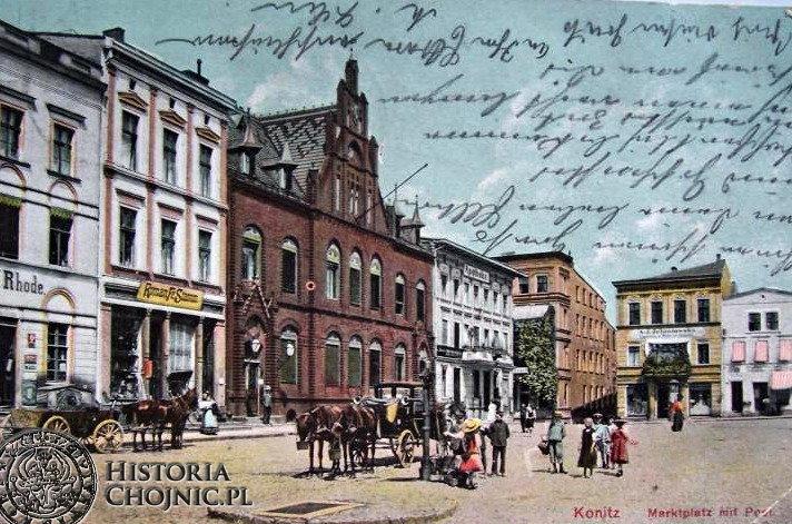 Kamienice przy rynku wraz z gmachem poczty.