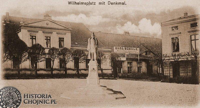 Pomnik cesarza i zabudowania C. Schulze. Obecnie w tym miejscu zanjduje sie market Netto.