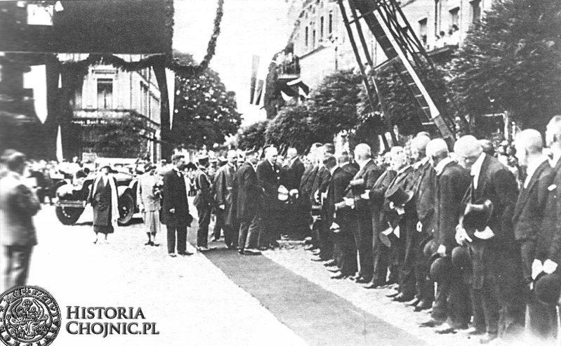 Powitanie przed ratuszem Prezydenta RP - I. Mościckiego. Sierpień 1927 r.