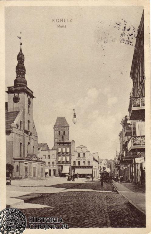 Widok na kościoly i fragment rynku. Ok. 1915 r.