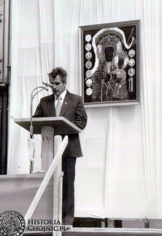 Stefan Polasik I sekretarz KM PZPR podczas przemówienia 1 maja 1981 r.