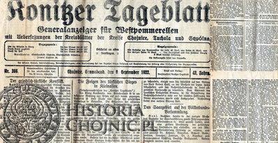 Konitzer Tageblatt zamieścił notatkę z pożegnania ks. Pronobisa w 1922 r.