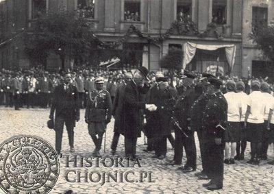 Powitanie Prezydenta Mościckiego na rynku w Chojnicach. 1924 r.
