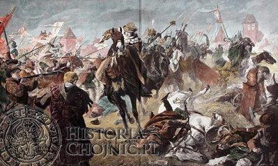 Scena z bitwy stoczonej przez wojska polskie przeciwko krzyżakom pod Chojnicami w 1454 r. Obraz Grotemayera.