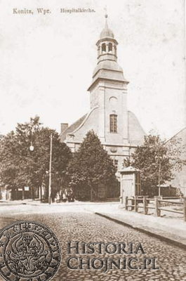 Kościół św. Ducha. Rozebrany w 1937 r. z powodu pochylenia się dzwonnicy.